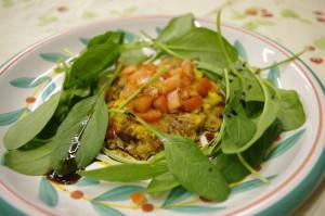 天然エノキとカニとウニの前菜