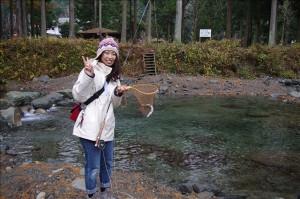 初めてフライで魚を釣りました